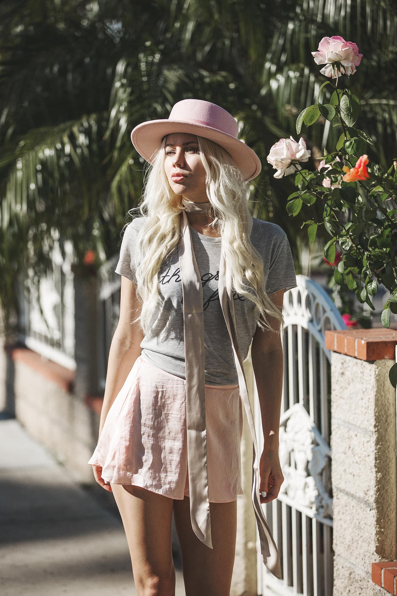 Sarah Loven in Silk Pink Shorts and Scarf