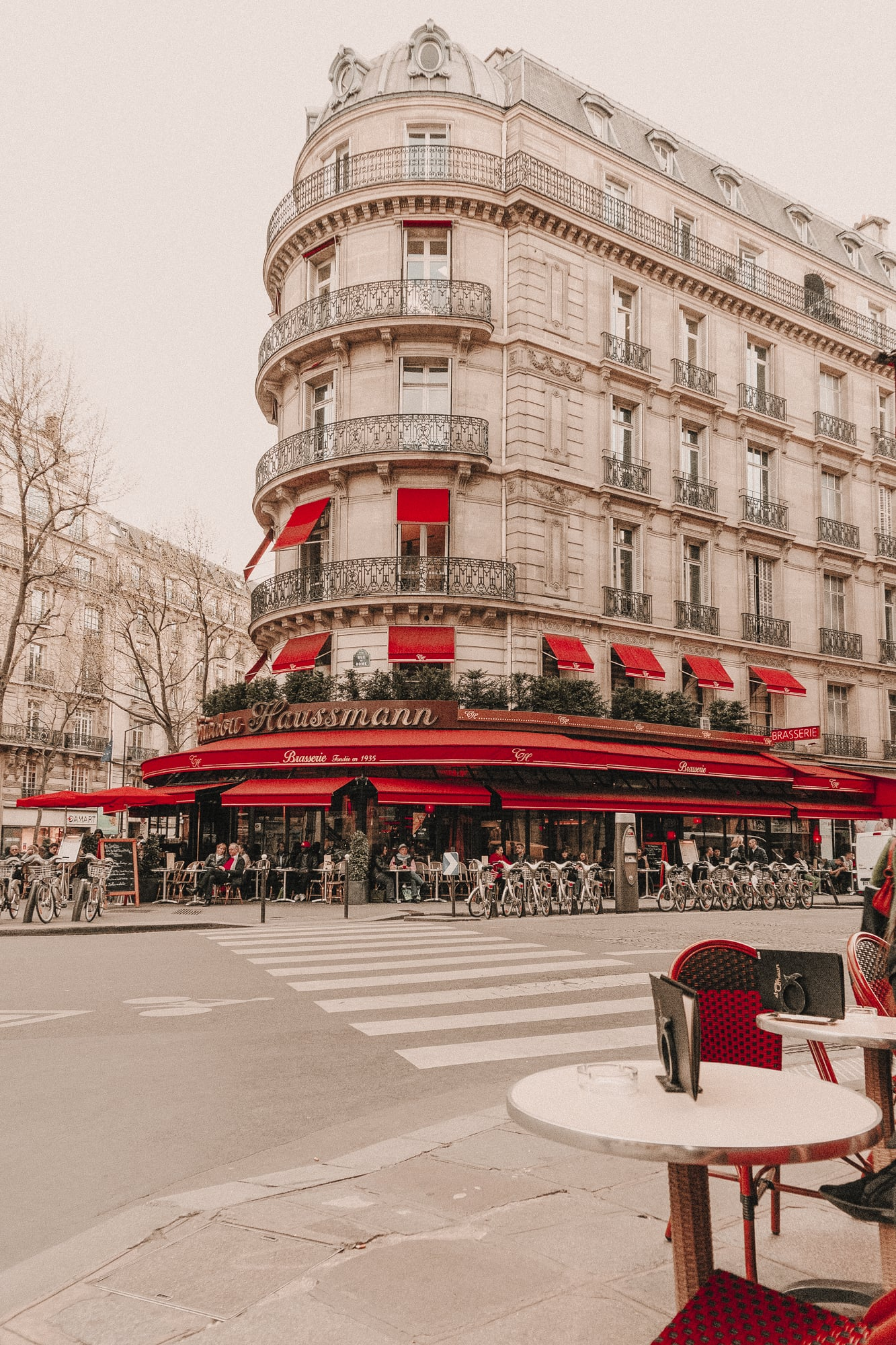Parisian cafe with red awning