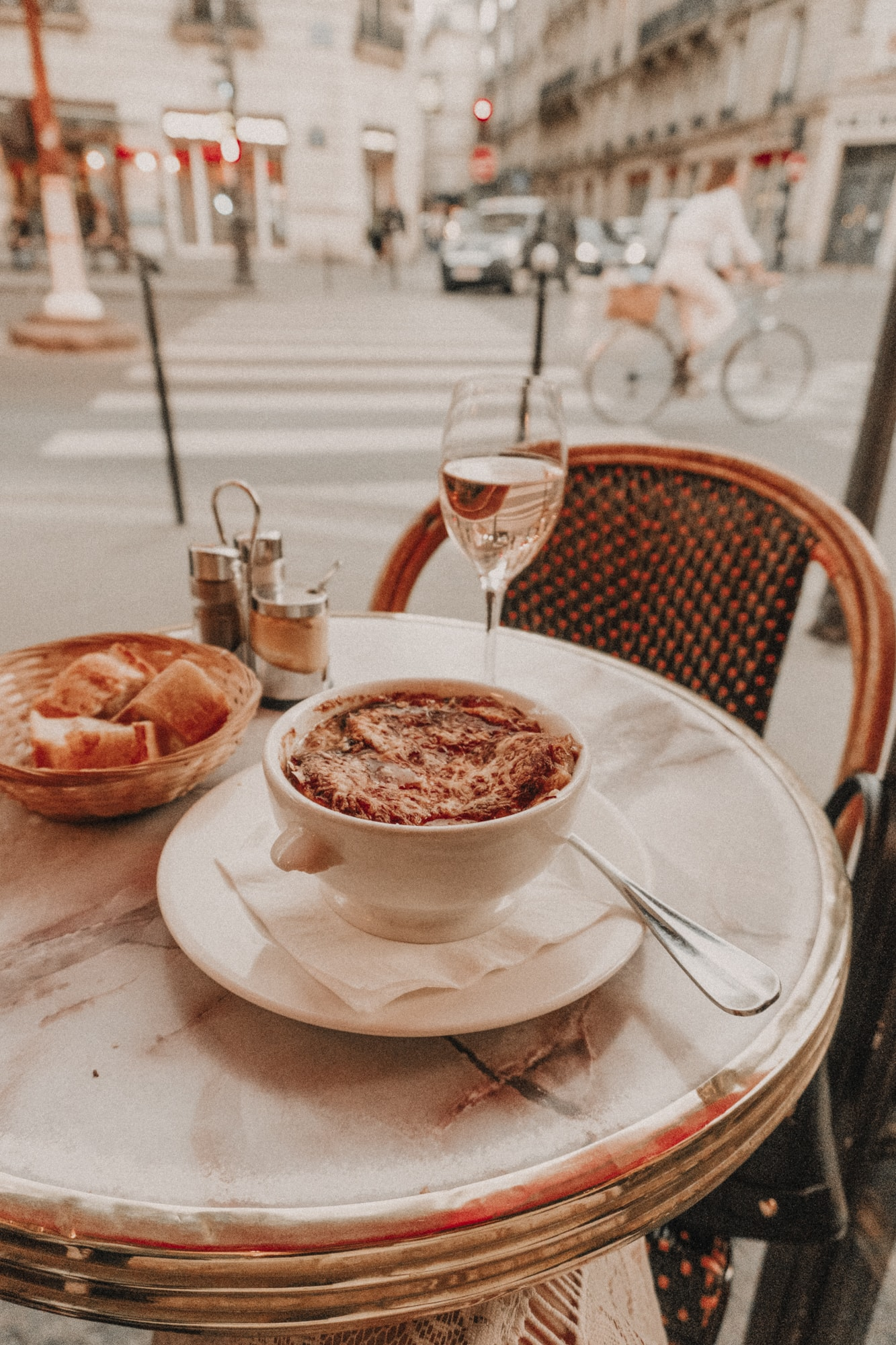 onion soup in Paris, French cafe