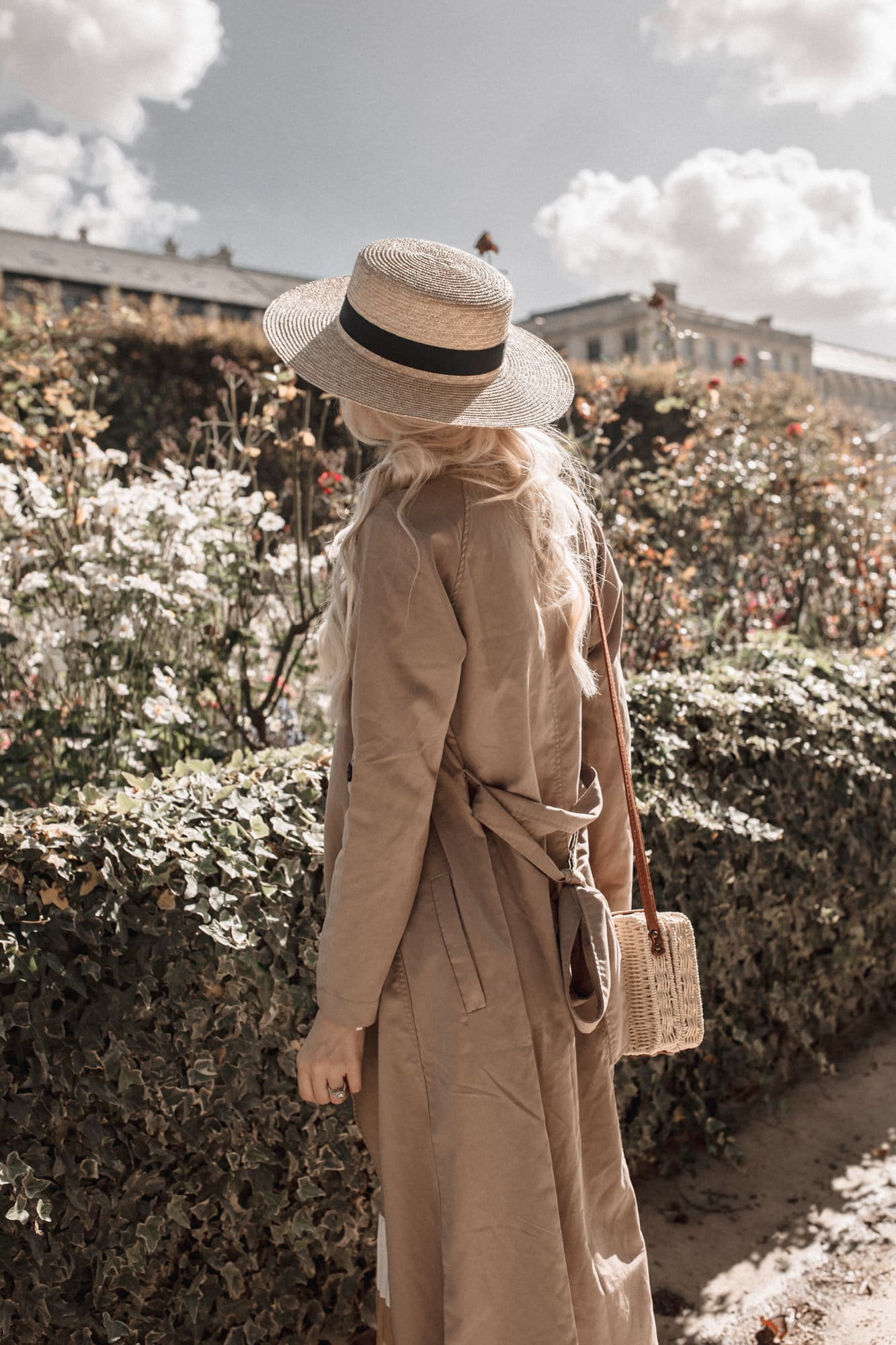 French style tan trench coat