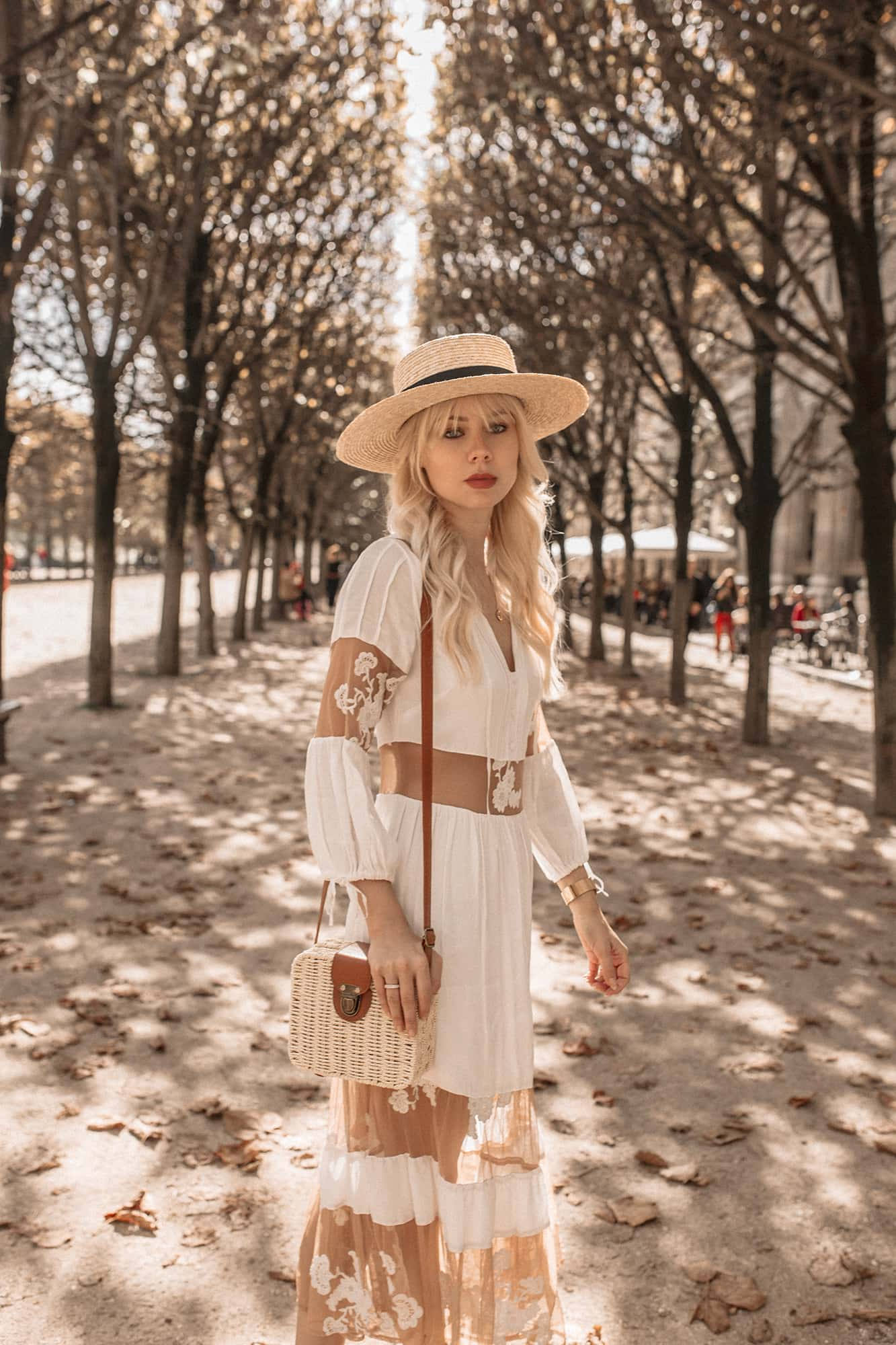 French style, boater hat, white dress