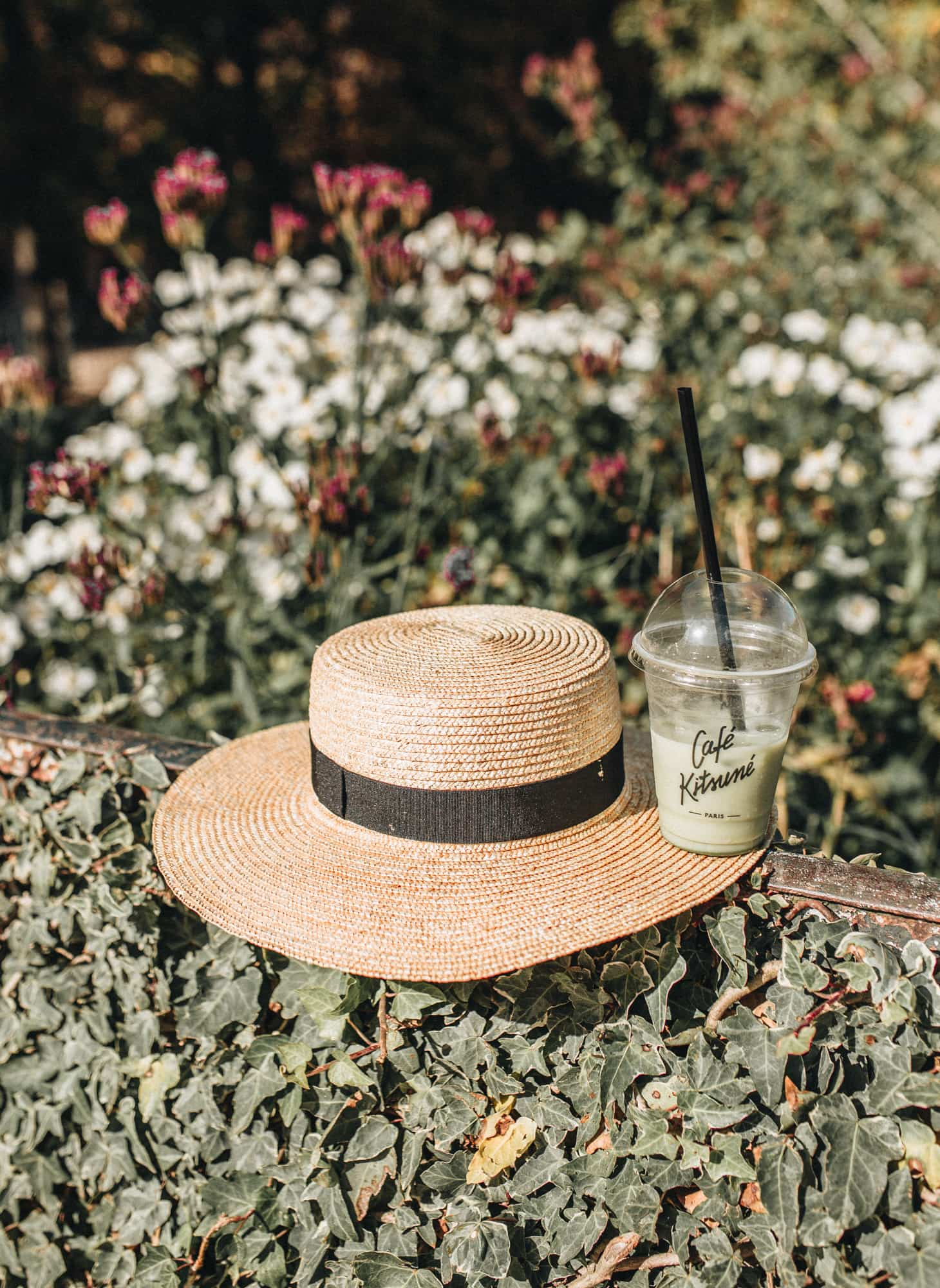 Straw boater hat and matcha tea cafe kitsune
