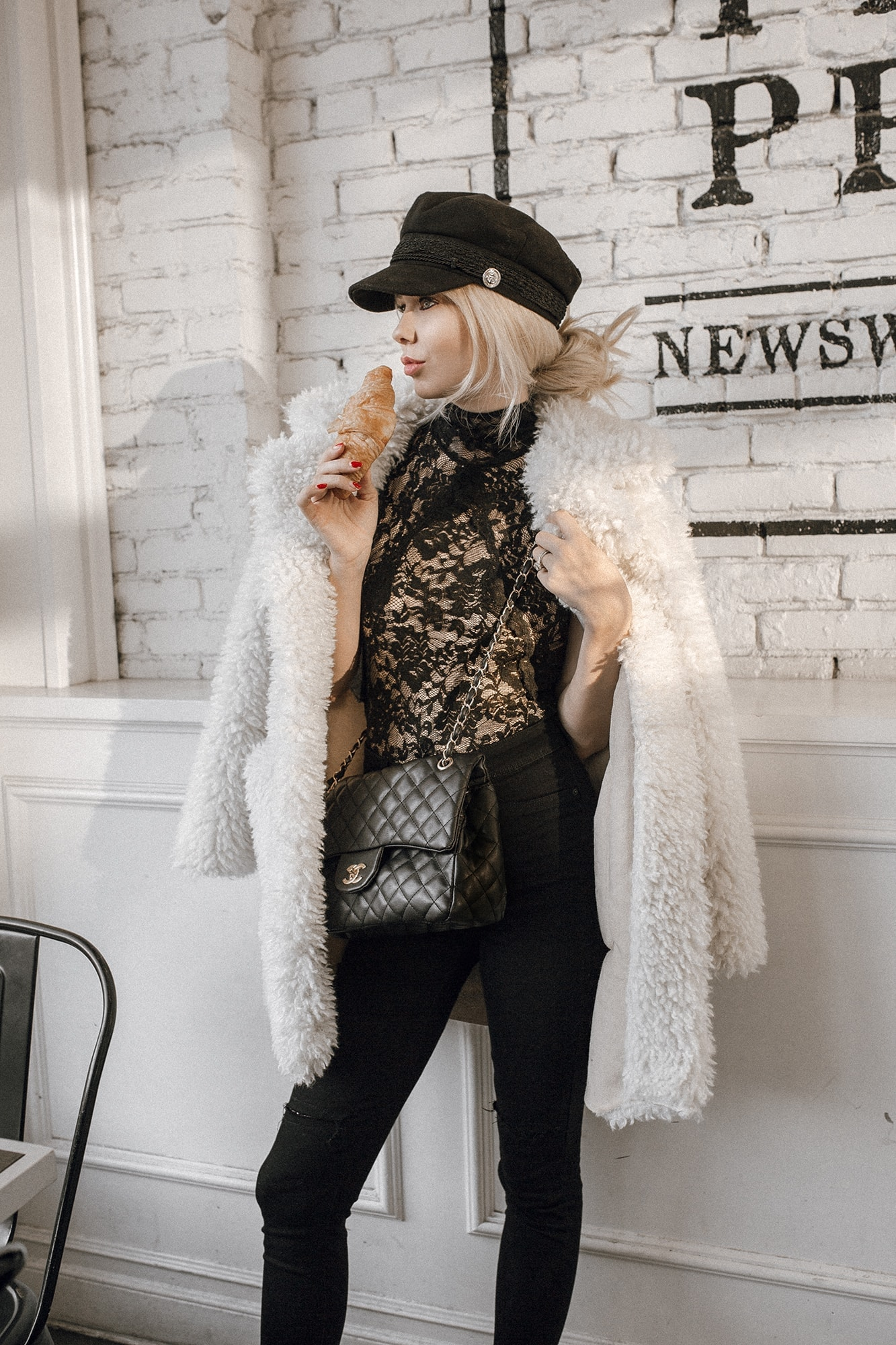 Sarah Loven wears Zara Faux Fur Coat