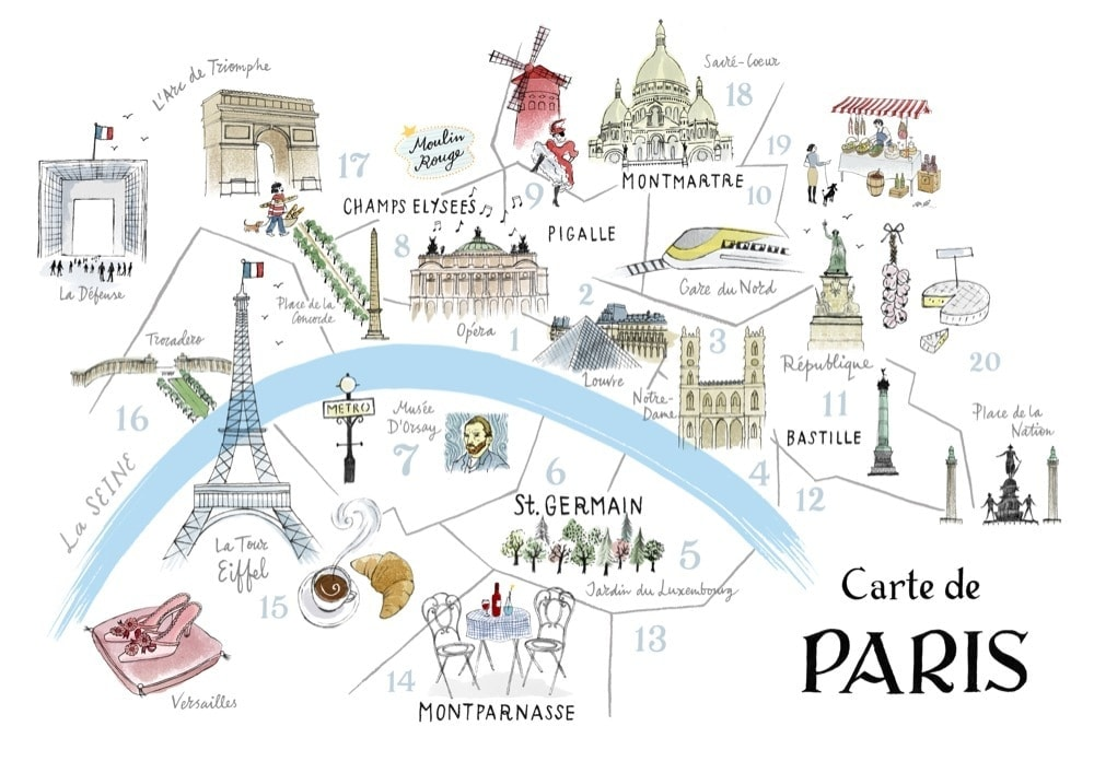 Map of Paris // Jetsetlust Travel Guide // Places to Stay in Paris