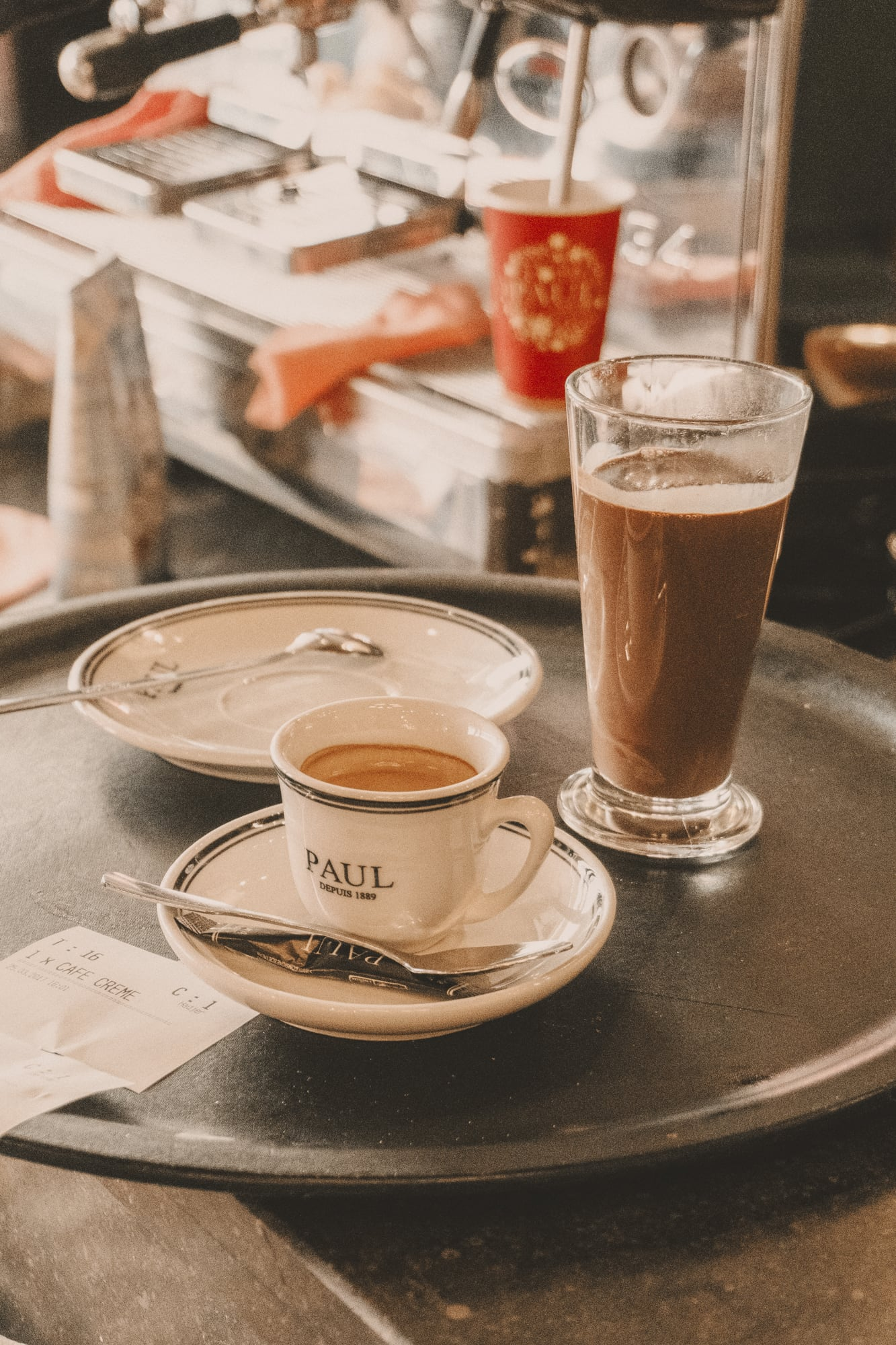 Coffee and hot chocolate at Paul Cafe, Paris