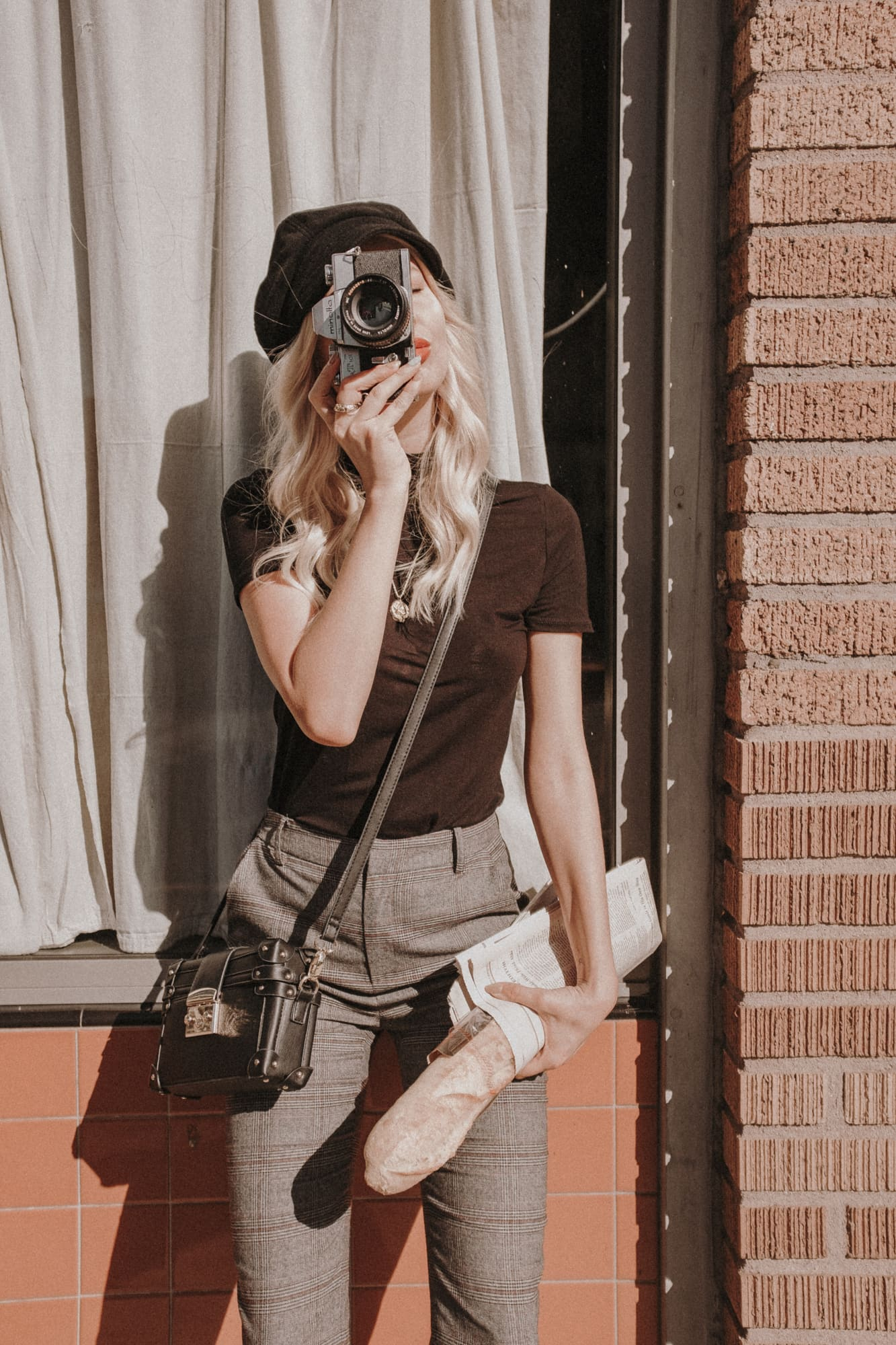 vintage style outfit with film camera