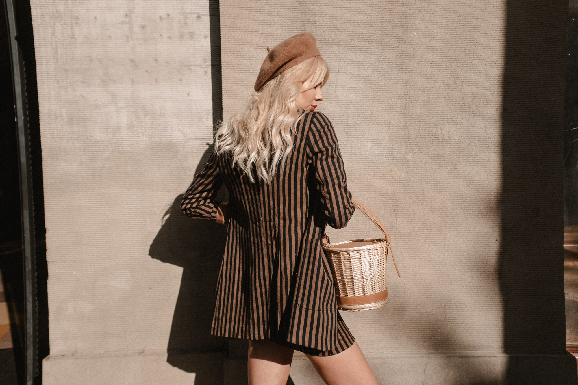 Sarah Loven in J.ING striped blazer