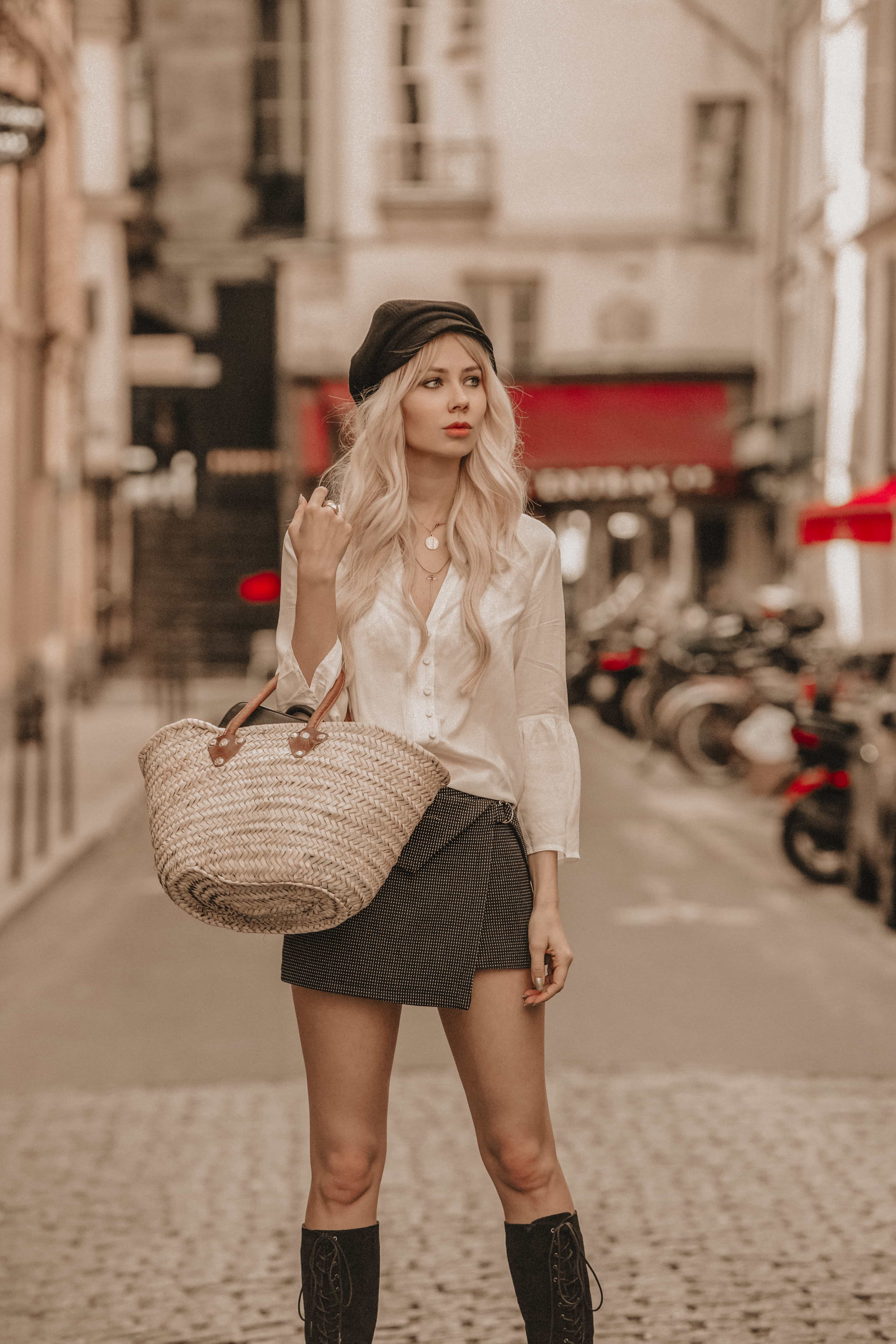 Sarah Loven wearing French style and French basket