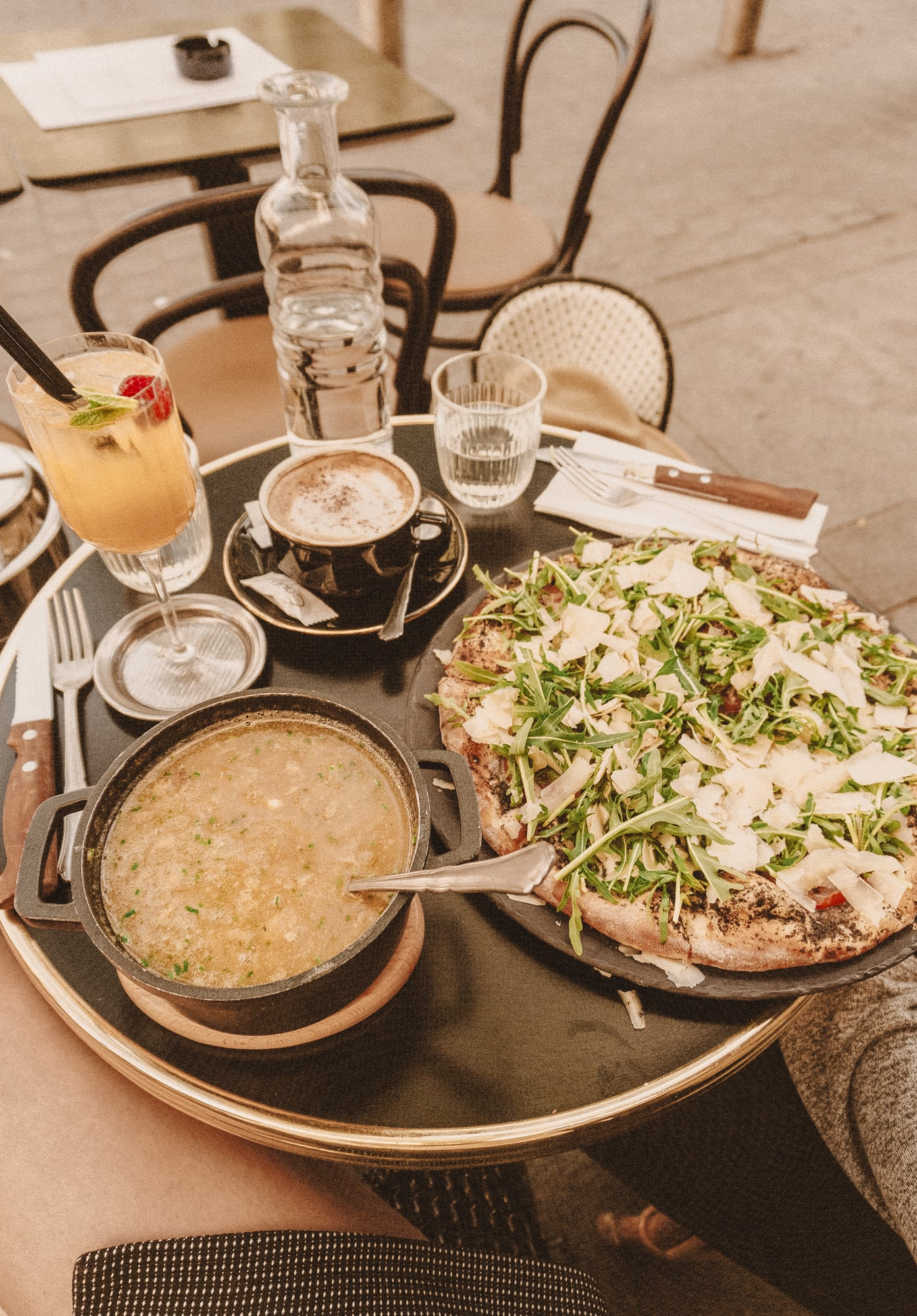 onion soup and pizza in Paris