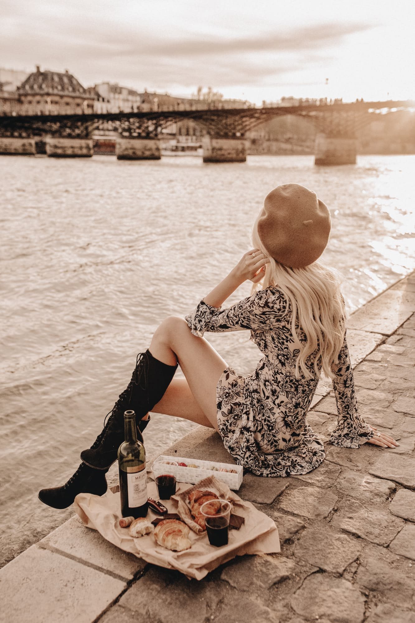 Sarah loven has picnic at La River Seine, golden hour