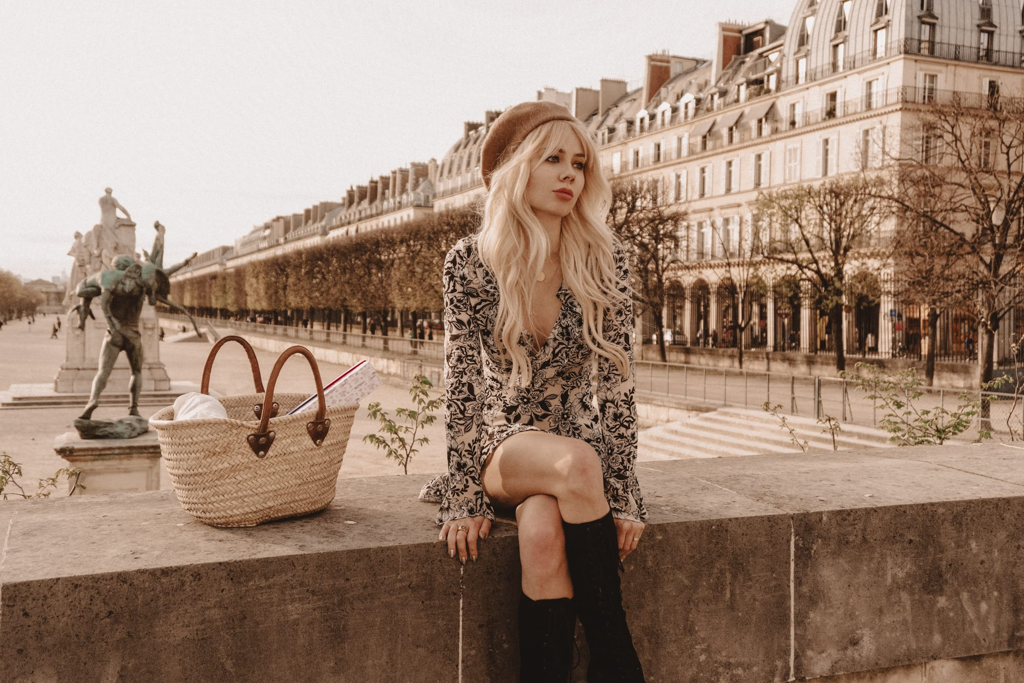 Sarah Loven wears For Love & Lemons in Paris