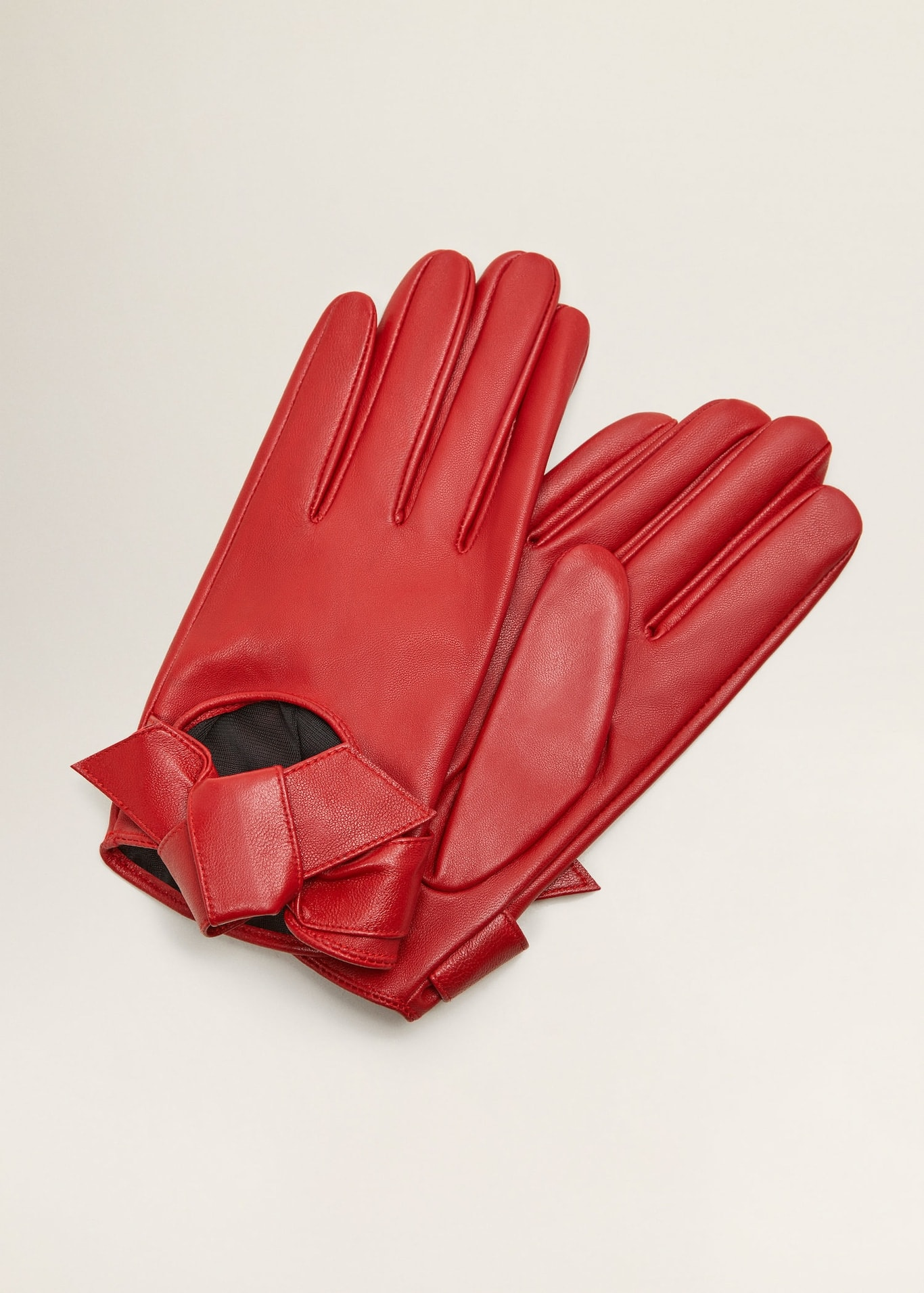 Mango red leather bow gloves