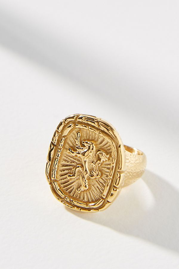 Anthropologie gold lion signet ring