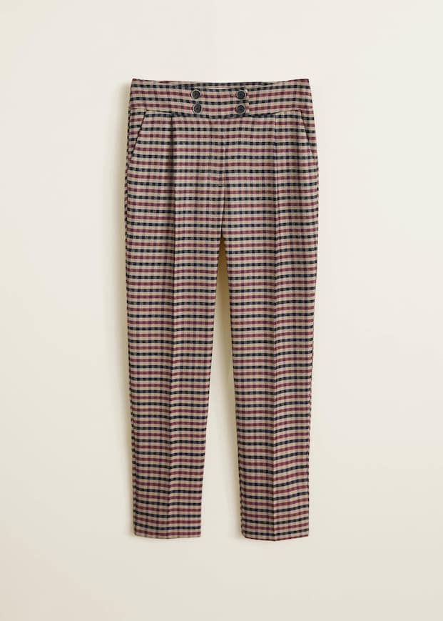 Plaid Check High Waist Trousers