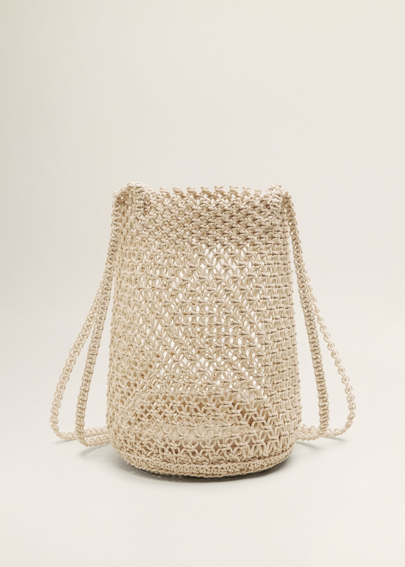 Cream Net Rope Basket Woven Bucket Purse