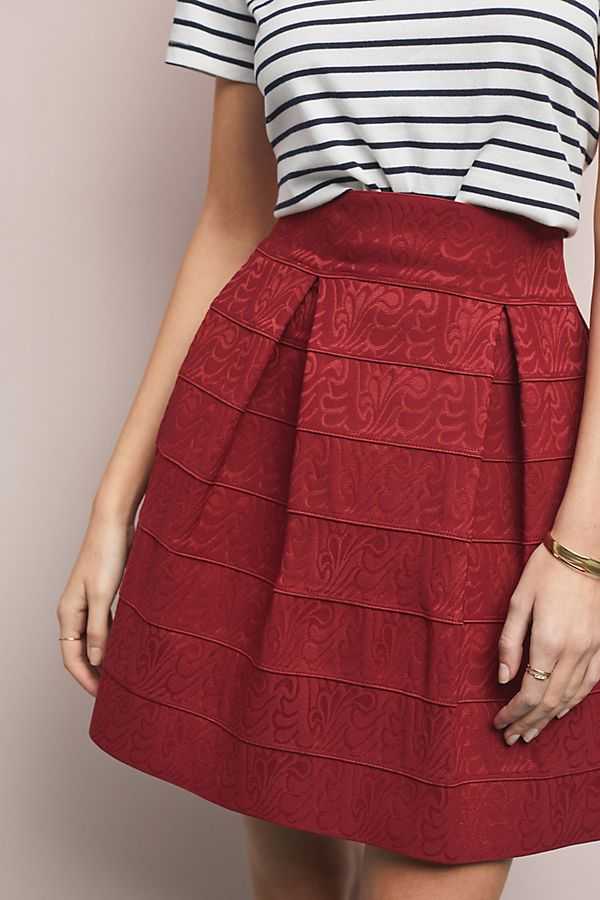 Anthropologie red structured mini skirt