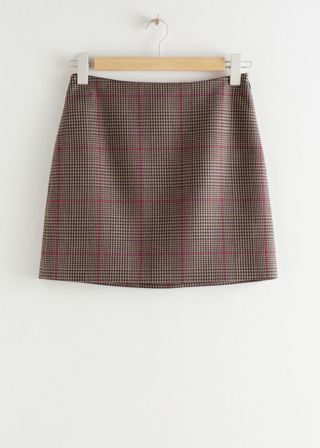 & Other Stories Brown Plaid Check Mini Skirt