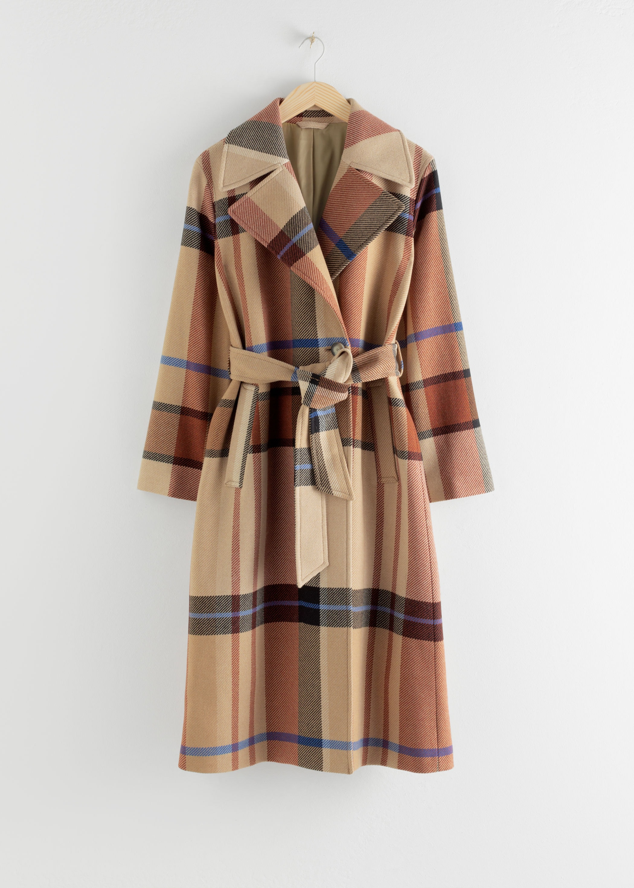 & Other Stories Plaid Trench Coat
