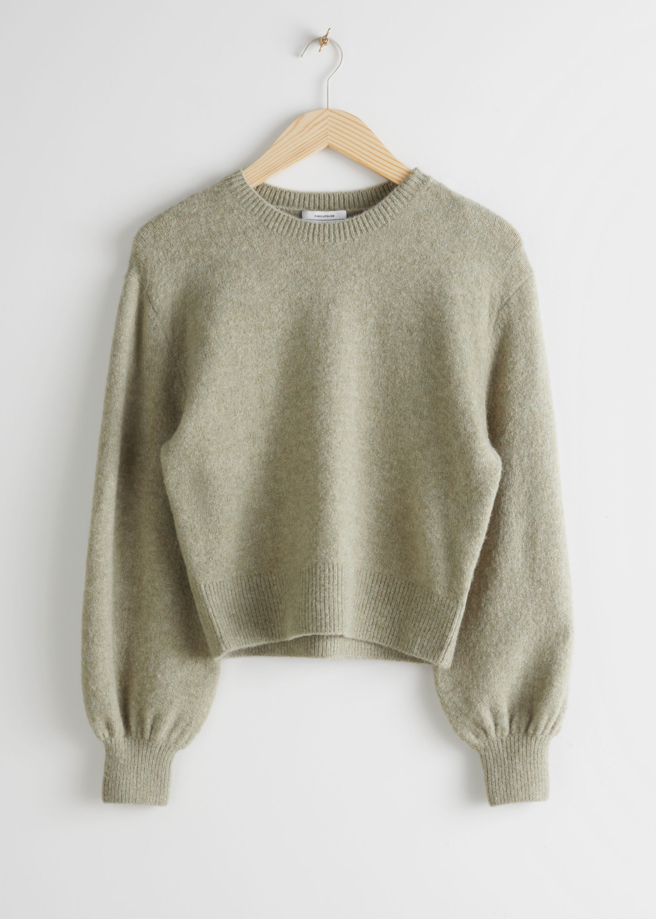& Other Stories Sage Green Cropped Sweater