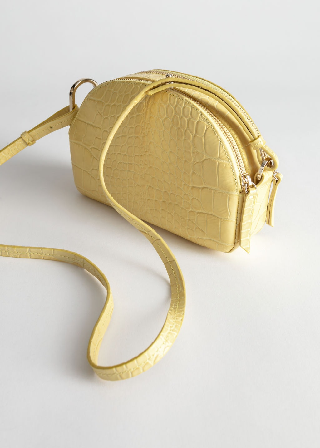 & Other Stories Yellow Leather Croc Purse