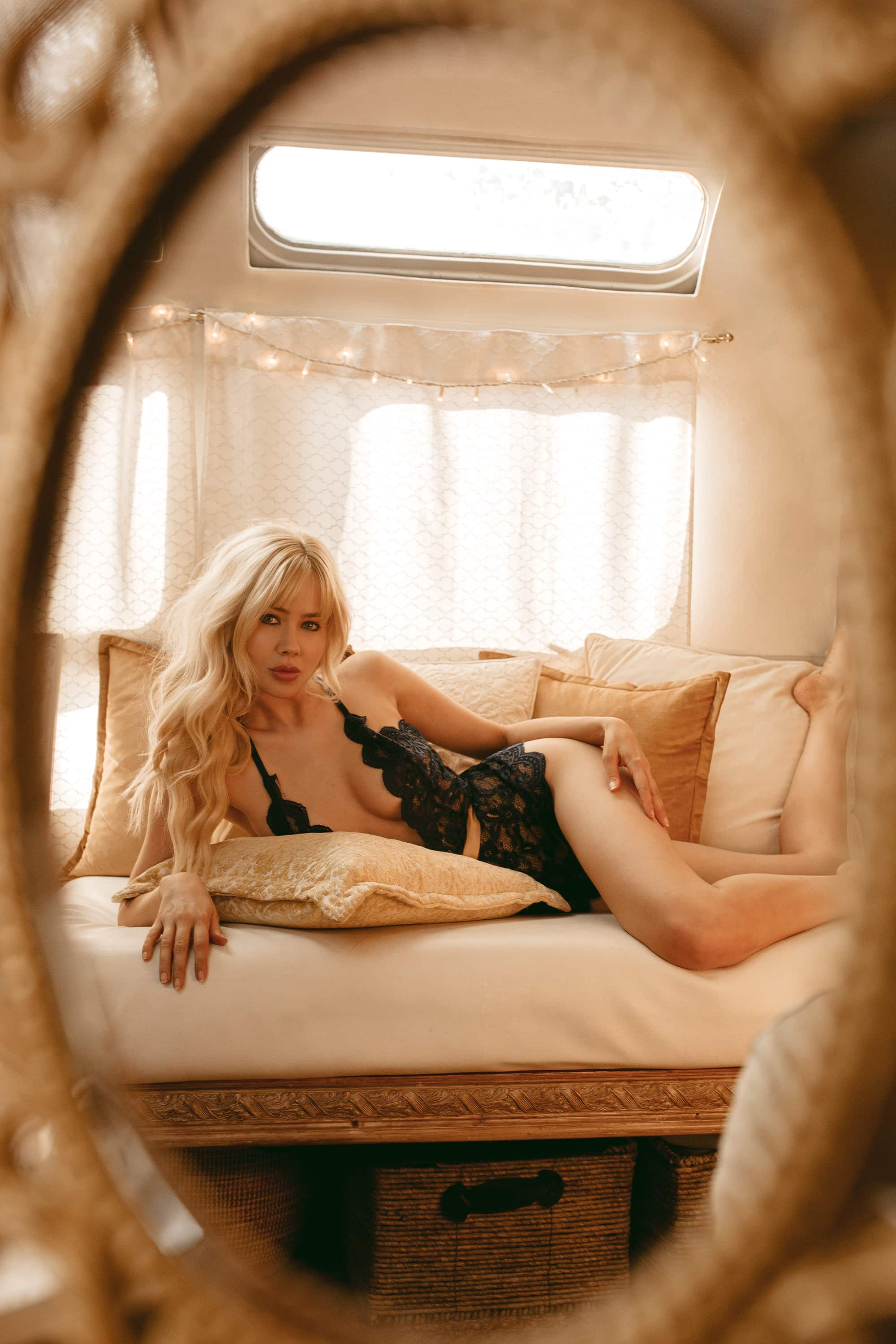 Sarah Loven lounging at home in Yandy Lingerie