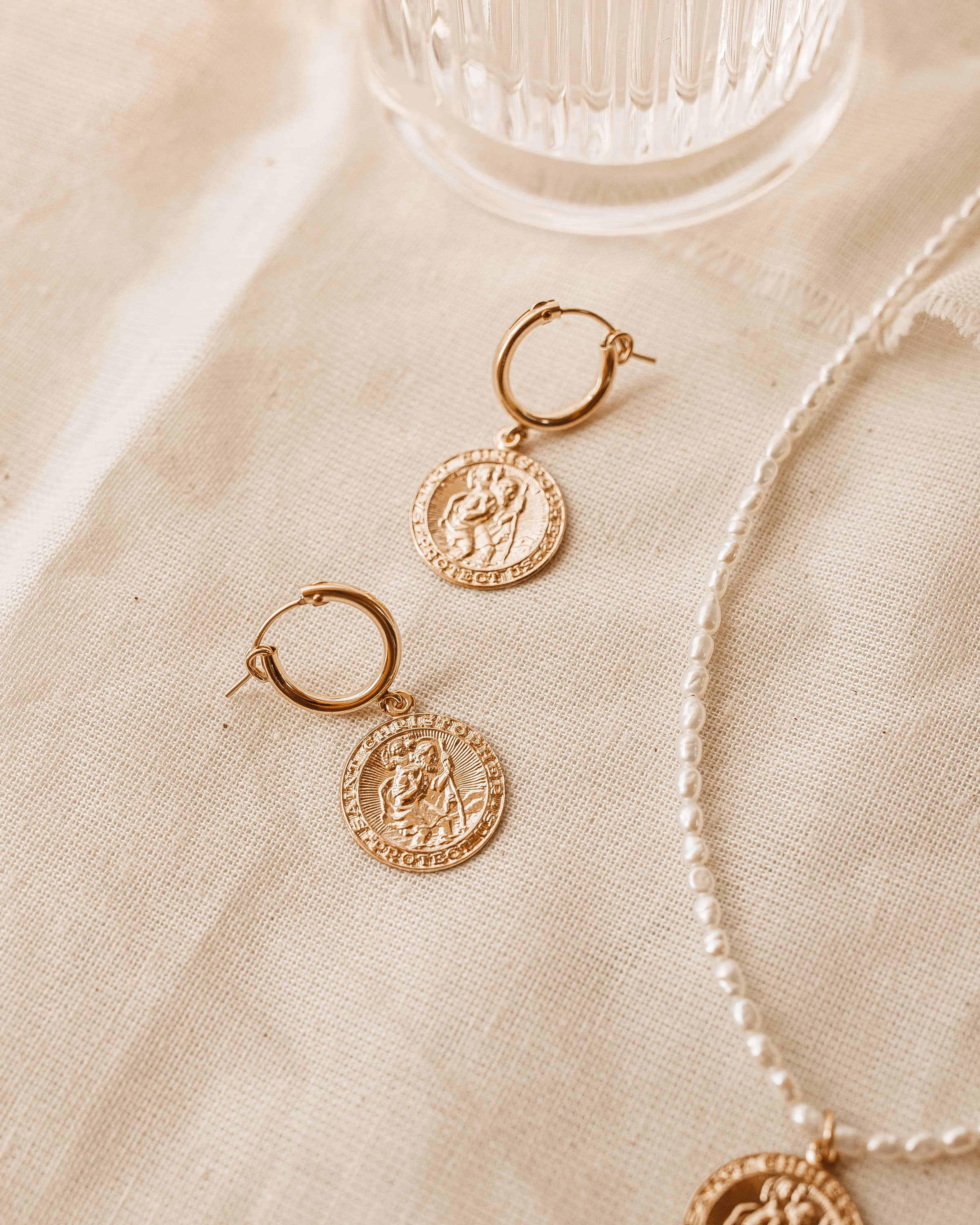 Sarah Loven x Biou Limon Saint Christopher Gold Coin Earrings